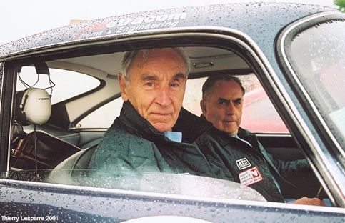 Roy Salvadori and Sir Jack Brabham share an Aston Martin in the 2001 Tour de France. - Thierry Lesparre photo.