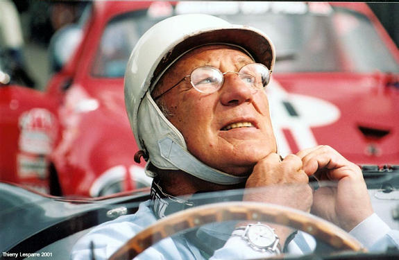 Sir Stirling Moss at the 2001 Tour de France. Thierry Lesparre photo.